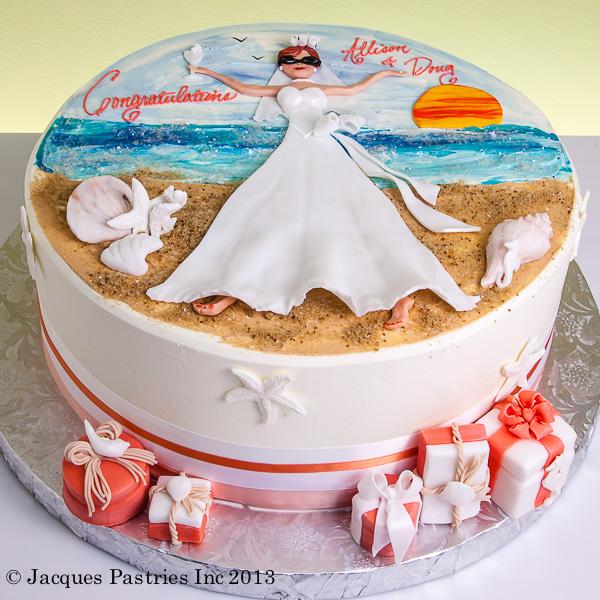 beach bride cake
